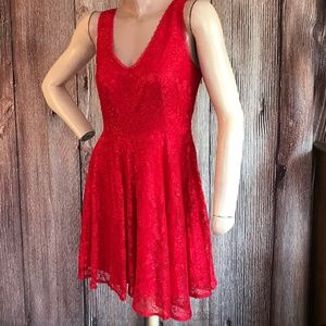 Express Red Lace Party Dress Size 4